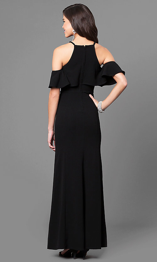 Image of off-the-shoulder long black prom dress with ruffles. Style: SS-X34761GKW Back Image