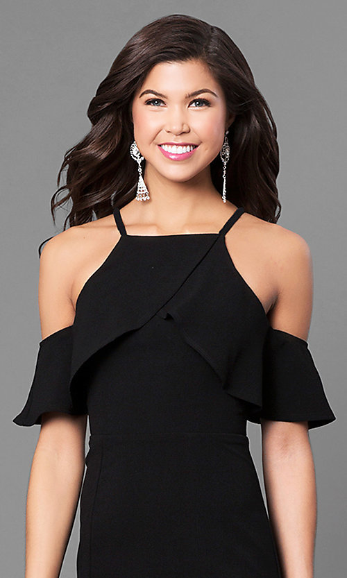 Image of off-the-shoulder long black prom dress with ruffles. Style: SS-X34761GKW Detail Image 1