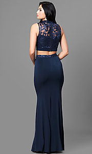 Image of high-neck two-piece long navy blue prom dress. Style: SS-X90711TGL Back Image