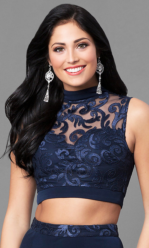 Image of high-neck two-piece long navy blue prom dress. Style: SS-X90711TGL Detail Image 1