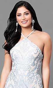 Image of long blue junior-size prom dress with embroidery. Style: SS-X35011TFB Detail Image 1