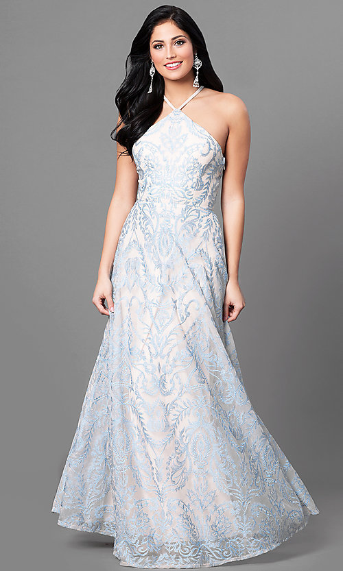 Image of long blue junior-size prom dress with embroidery. Style: SS-X35011TFB Front Image