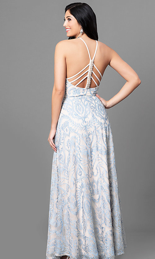 Image of long blue junior-size prom dress with embroidery. Style: SS-X35011TFB Back Image