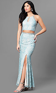 Two-Piece Lace Prom Dress with Keyhole Neckline