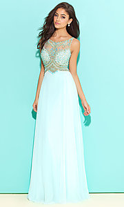 Sheer Beaded Sleeveless Long Formal Dress