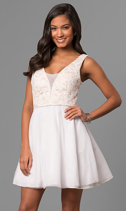 Image of short a-line white party dress with lace bodice.  Style: DMO-J316857 Front Image