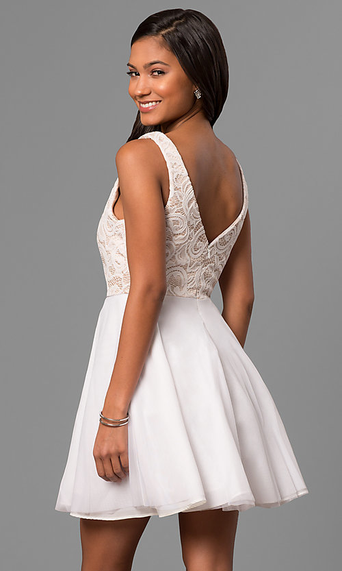 Image of short a-line white party dress with lace bodice.  Style: DMO-J316857 Back Image