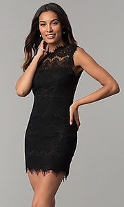 Image of junior-size short semi-formal party dress in lace. Style: JU-49946 Detail Image 1