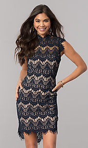 Image of junior-size short semi-formal party dress in lace. Style: JU-49946 Front Image
