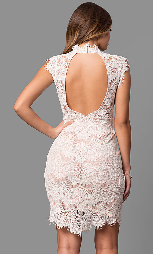 Image of junior-size short semi-formal party dress in lace. Style: JU-49946 Back Image