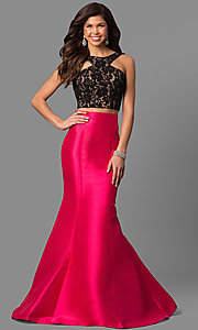 Black and Fuchsia Two-Piece Prom Dress