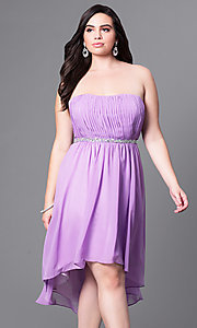 Image of high-low strapless plus-size party dress with shawl. Style: DQ-8626P Detail Image 3