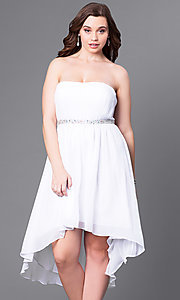 Image of high-low strapless plus-size party dress with shawl. Style: DQ-8626P Front Image