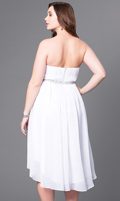 Image of high-low strapless plus-size party dress with shawl. Style: DQ-8626P Back Image