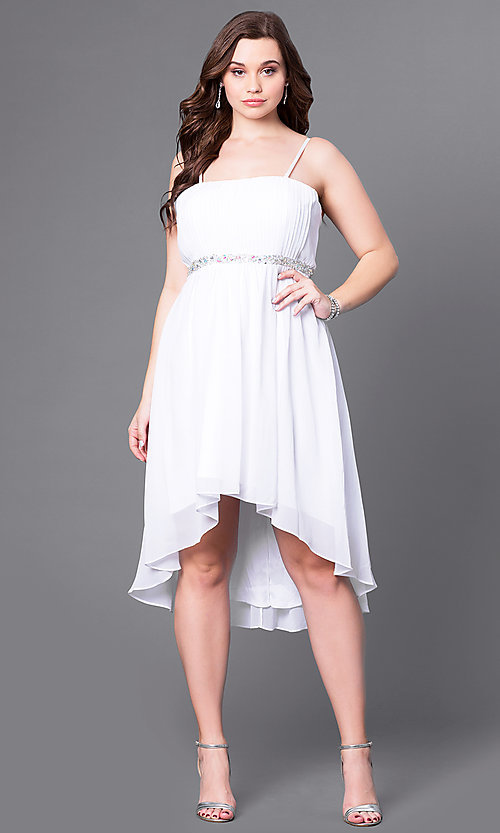 Image of high-low strapless plus-size party dress with shawl. Style: DQ-8626P Detail Image 1