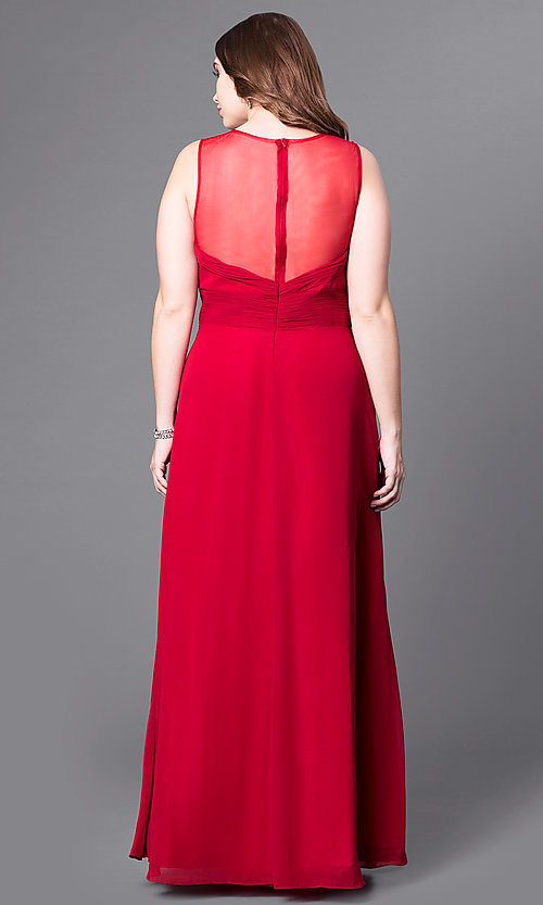 Image of long formal plus-size prom dress with v-neck. Style: DQ-9539P Back Image