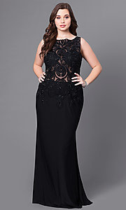 Long Plus-Size Prom Dress with Lace-Embellished Sheer Bodice