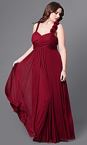 Image of sweetheart long plus prom dress with empire waist. Style: DQ-8115P Front Image