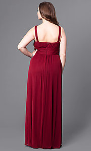 Image of sweetheart long plus prom dress with empire waist. Style: DQ-8115P Back Image