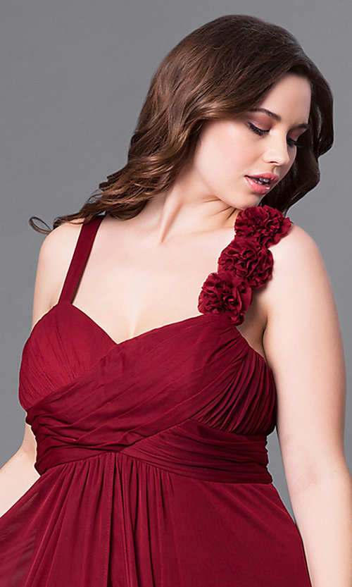 Image of sweetheart long plus prom dress with empire waist. Style: DQ-8115P Detail Image 1