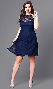 Image of plus-size knee-length party dress in navy lace. Style: SI-11464P Detail Image 1