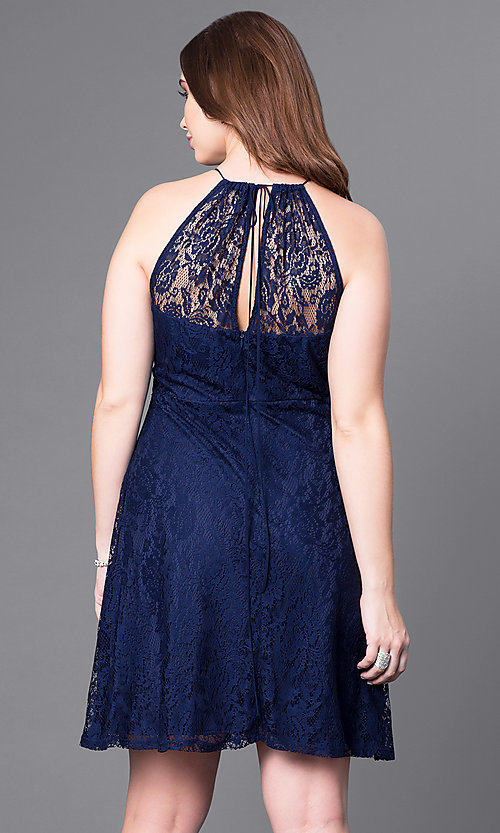 Image of plus-size knee-length party dress in navy lace. Style: SI-11464P Back Image