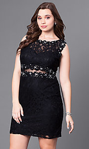 Image of short lace plus-size party dress with sheer waist. Style: DQ-9099P Front Image