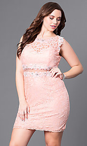Image of short lace plus-size party dress with sheer waist. Style: DQ-9099P Detail Image 2