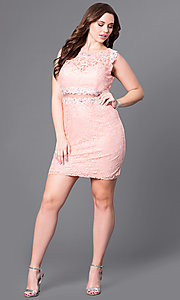 Image of short lace plus-size party dress with sheer waist. Style: DQ-9099P Detail Image 1