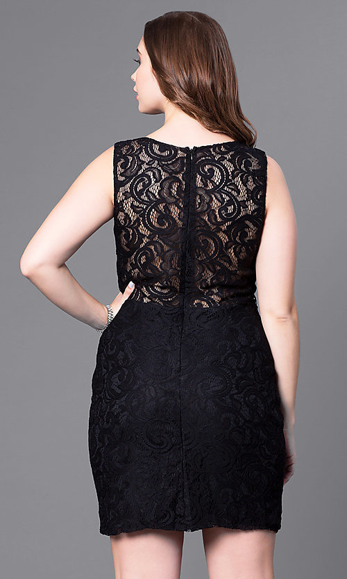 Image of short lace plus-size party dress with sheer waist. Style: DQ-9099P Back Image