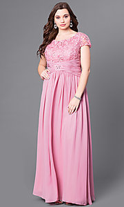 Image of long plus-size lace-bodice formal evening dress. Style: FB-GL1398Yp Detail Image 3