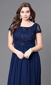 Image of long plus-size lace-bodice formal evening dress. Style: FB-GL1398Yp Detail Image 2