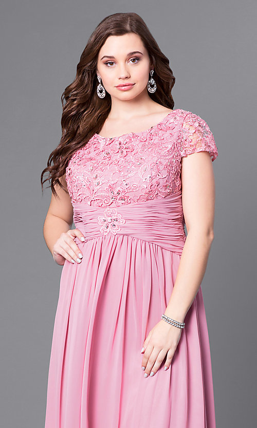 Image of long plus-size lace-bodice formal evening dress. Style: FB-GL1398Yp Detail Image 4