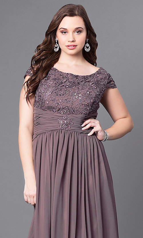 Image of long plus-size lace-bodice formal evening dress. Style: FB-GL1398Yp Detail Image 6