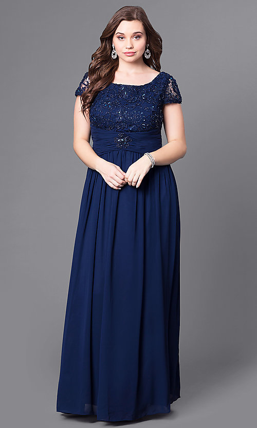 Lace Bodice Long Formal Plus Size Dress Promgirl