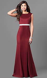 Long Classic Beaded-Belt Jersey Prom Dress