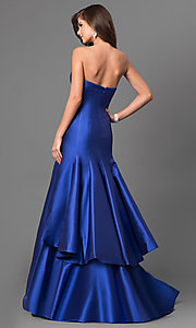 Strapless Long Prom Dress with Tiered Trumpet Skirt