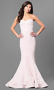 Long Strapless Pink Prom Dress with Glitter