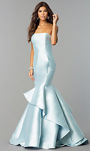 Long Strapless Ice Blue Prom Dress