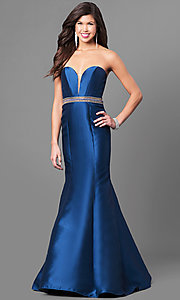 Long Satin Strapless Sweetheart Prom Dress