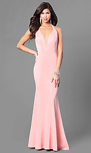 V-Neck Long Open Back Prom Dress with Ruffle