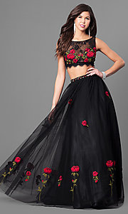 Two-Piece Floral Lace Embroidered Black Ball Gown