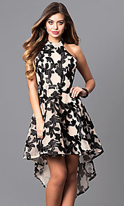 Image of high-low black print party dress with high-neck halter. Style: LUX-LD3415 Front Image
