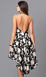 Image of high-low black print party dress with high-neck halter. Style: LUX-LD3415 Back Image