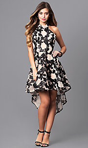 Image of high-low black print party dress with high-neck halter. Style: LUX-LD3415 Detail Image 1