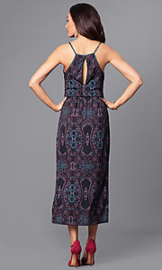 Image of sleeveless v-neck print high-low party dress. Style: BC-ELJ69E63 Back Image