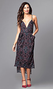 V-Neck Print High-Low Short Party Dress