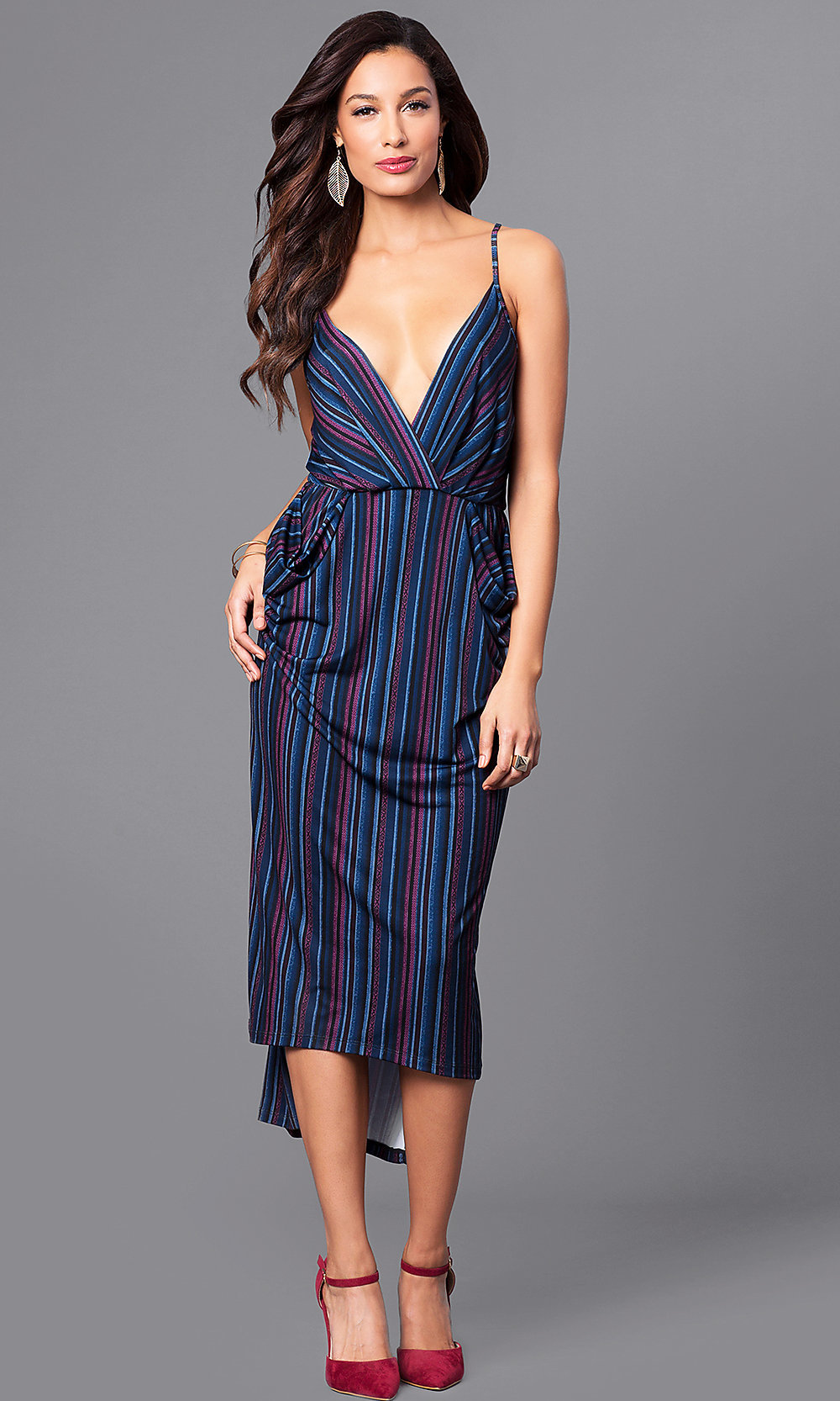 1fdcd585a51 V-Neck Striped Short High-Low Casual Party Dress