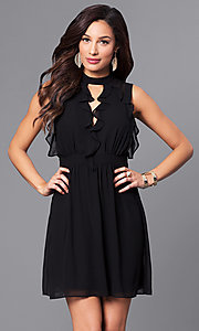 Short Black High-Neck Party Dress with Ruffles