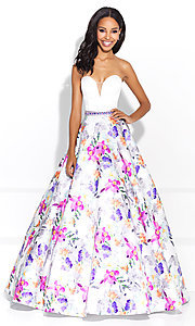 Strapless A-Line Print Prom Dress